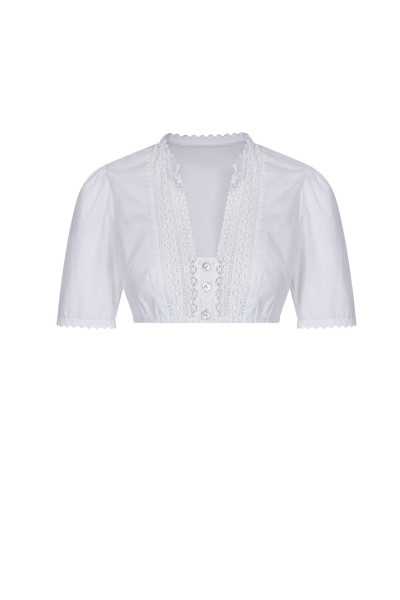 Dirndl cotton blouse with stand-up collar