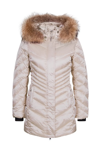 Padded hooded jacket made of soft duck down filling