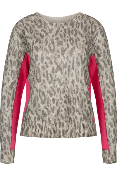 Knitted Sweater in All Over Leo Print