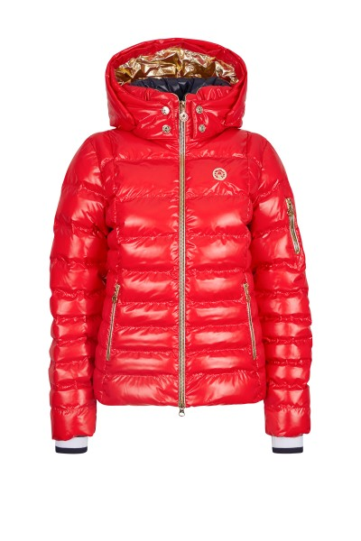Fitted real down ski jacket