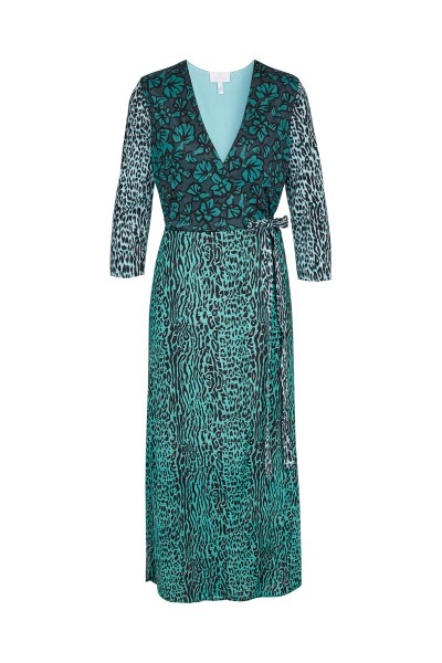 Jersey wrap dress in all-over leo print