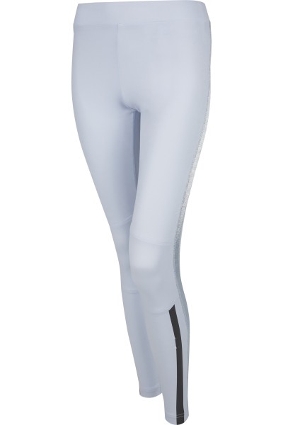 Tight leggings in fashionable and printed material mix with side stripes