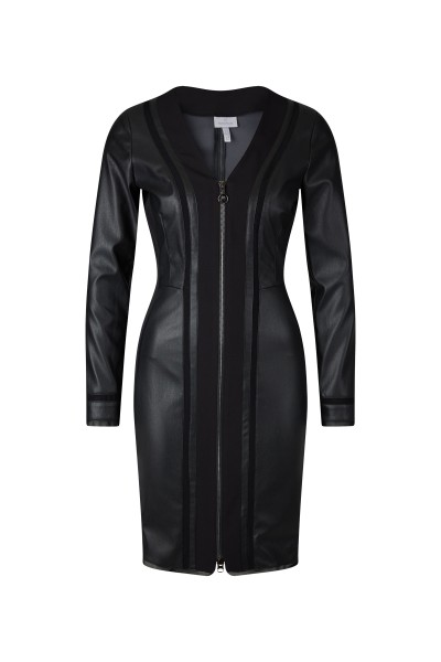 Figure-hugging, long-sleeved minidress made of leather stretch fabric