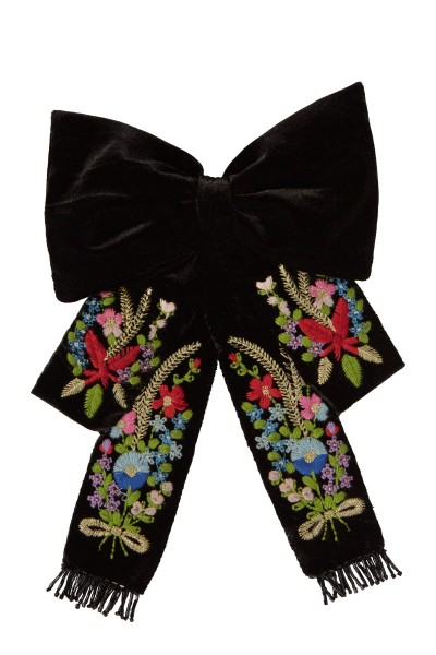 Velvet bow with flower embroidery
