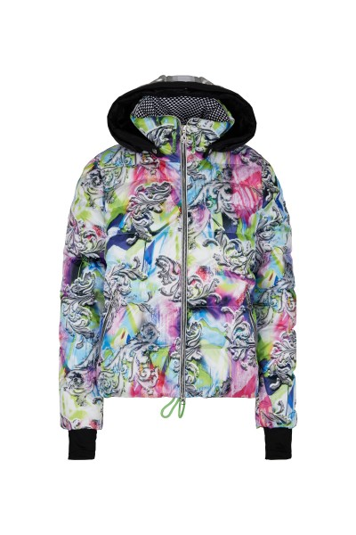 Fashionable ski jacket in all-over print with real down filling and zip-off hood
