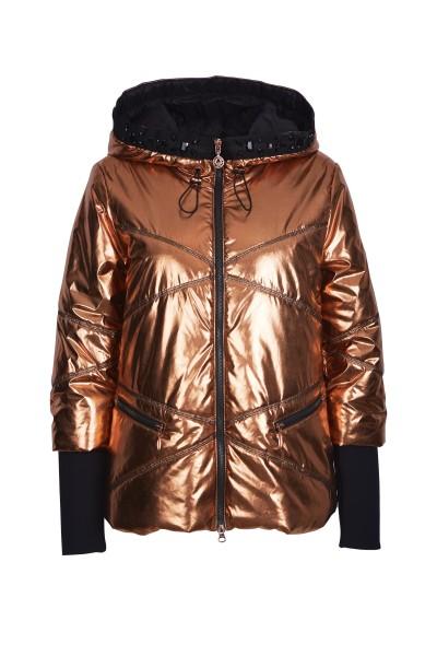 Padded metallic shimmer jacket