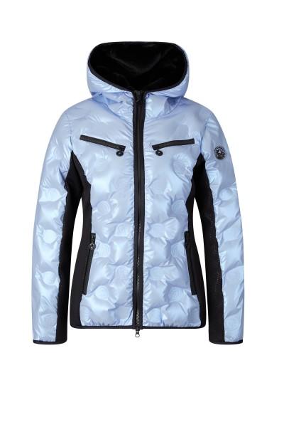 Wattierte Jacke mit Kapuze und Seiteneinsätzen aus Neopren
