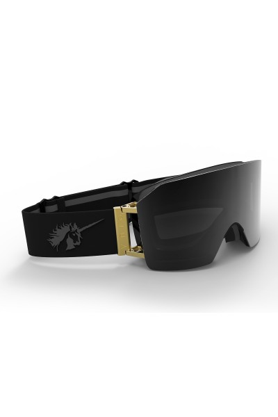 Ski goggles in black/gold and magnetic smoke lens