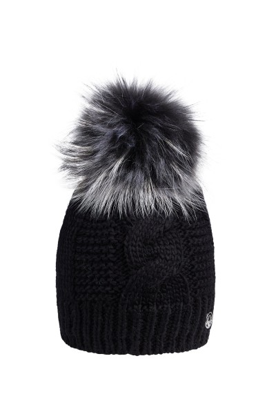 Knitted cap with real fur pompom