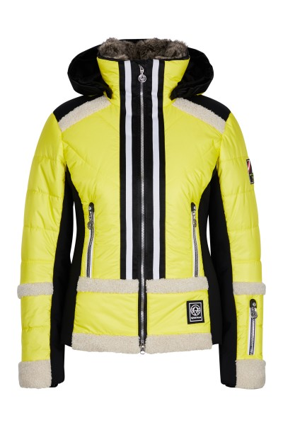 Sporty ski jacket with jersey inserts