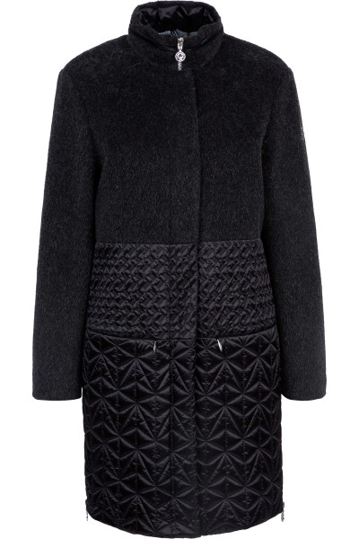 Wool coat with decorative stitches