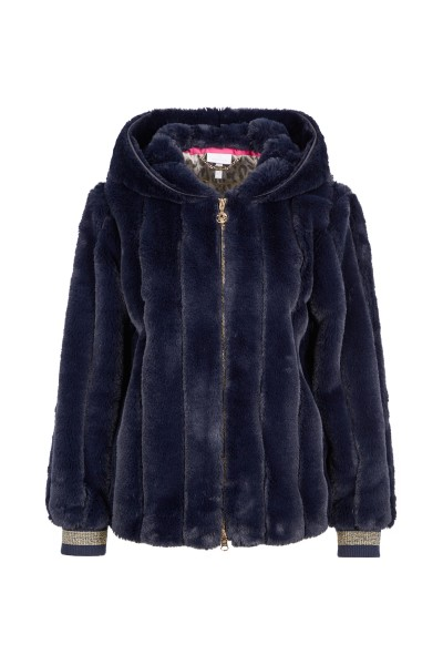 Fake fur jacket with hood