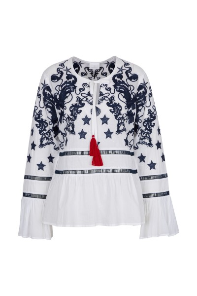 Romantic blouse with maritime print
