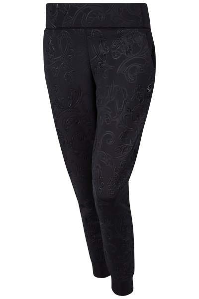 Fashionable sweatpants with all-over embossed motif