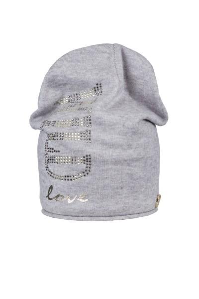 Cozy hat with rhinestone application