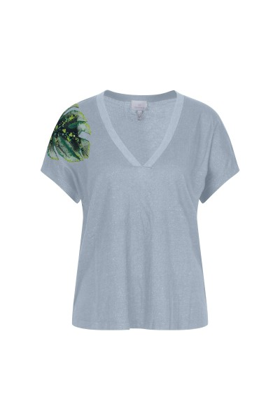 T-shirt with palm leaf motif