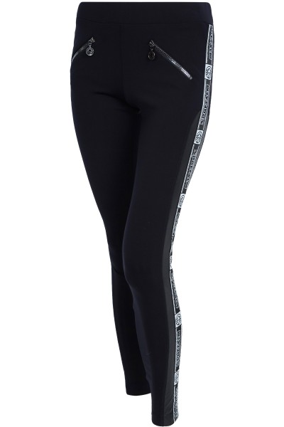 Sporty stretch pants with leather inserts