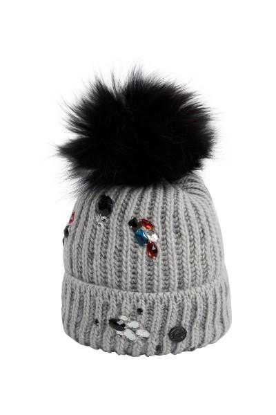 Mütze mit Echtfellpommel