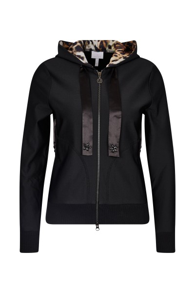 Sweatjacket with hood in leo-print