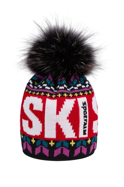 Colorful hat with fur pompom
