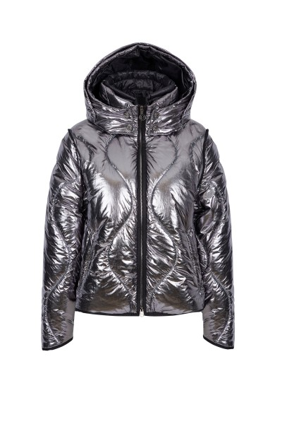 Padded jacket made of shimmering nylon metallic quilting
