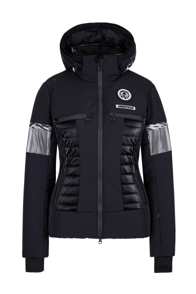 Sporty ski jacket with padding and zip-off hood made of material mix