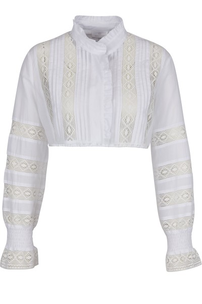 Folkloristic dirndl blouse with stand-up collar