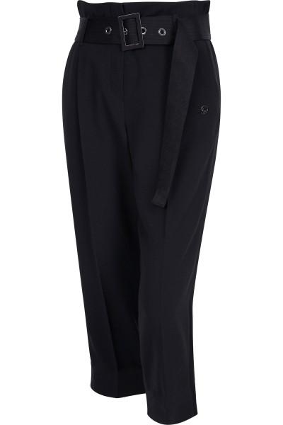 Taillenbetonte Hose mit seitlich, glänzenden Streifen