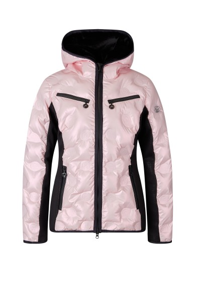 Padded jacket with hood and neoprene side inserts