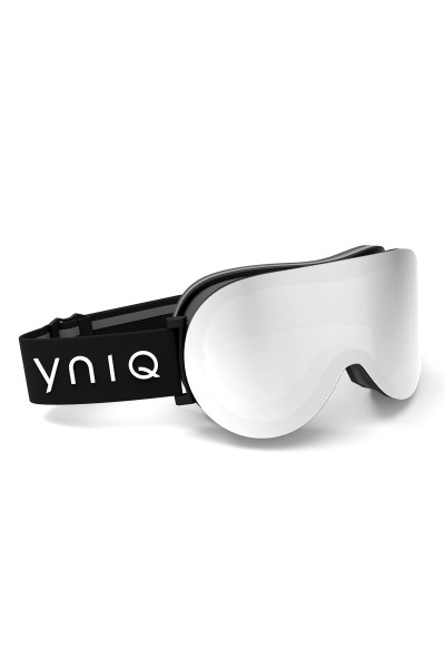 Ski goggles with black, silvery lenses