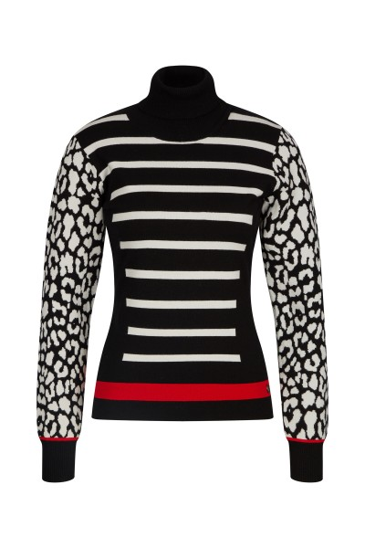 Waisted turtleneck sweater in print mix