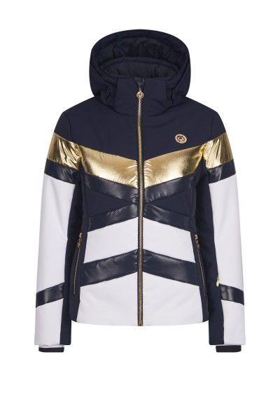 Ski jacket with a block stripe design