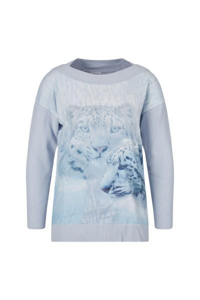 Pullover aus hochwertiger Stretchviskose mit Leoparden Druckmotiv