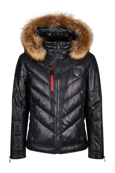 Casual leather down jacket