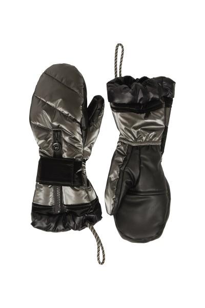 Metallic nylon padded unisex mitten gloves