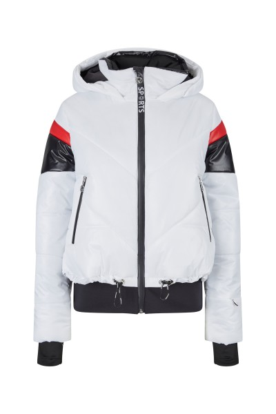 Padded ski jacket with hood and contrasting color inserts
