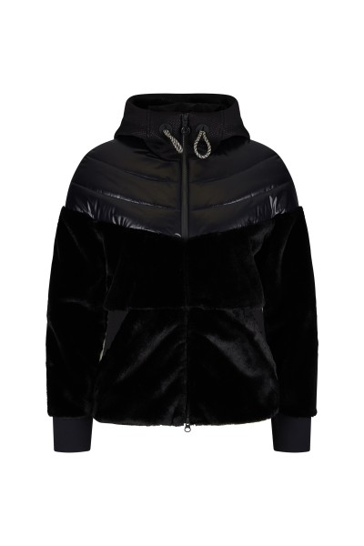 Lined fleece jacket with hood made of material mix and flatlock seams