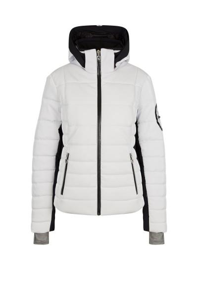 Waisted cut ski jacket in nylon patent