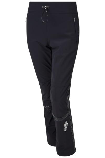 Padded ski pants with nylon and softshell inserts