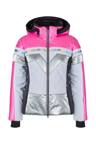Ski jacket with innovative material mix and zip-off hood