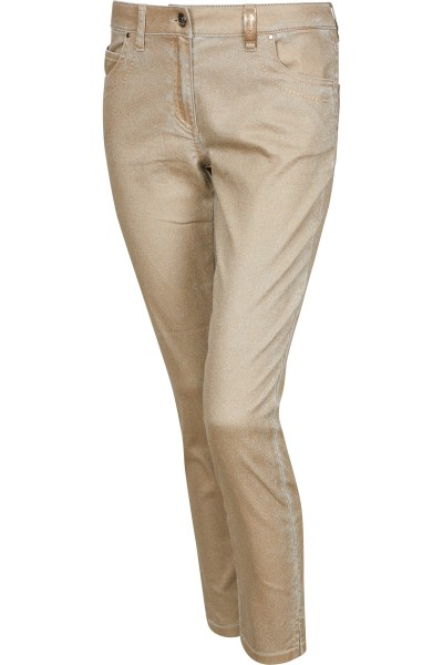 Stretch pants in denim fabric and metallic icegold coating