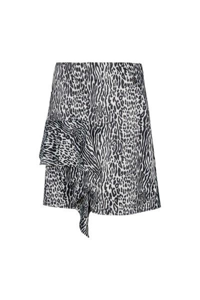 Kurzer Rock im Zebra-Leoparden Print