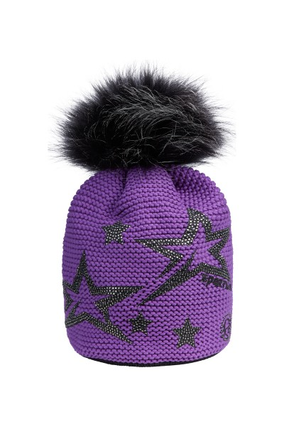 Kuschelige Mütze mit Strasssternen