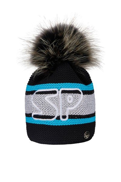 Coarse knitted cap with real fur bobble