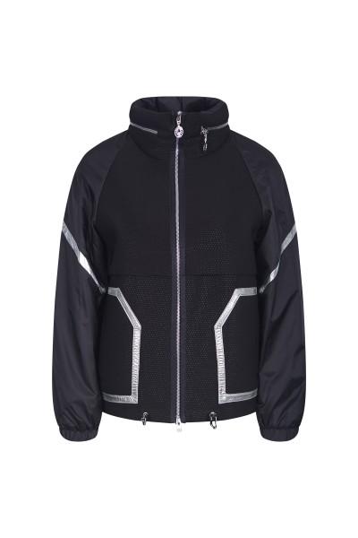 sporty neoprene jacket with metallic stripes