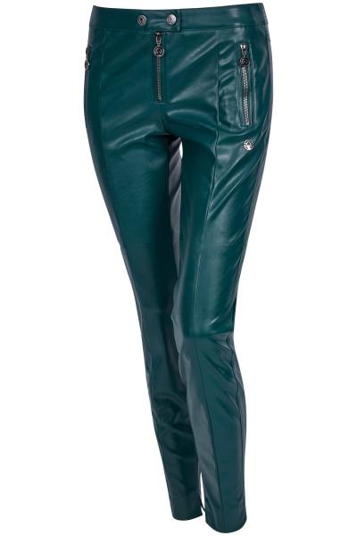 Figure-hugging fake leather pants in a biker look