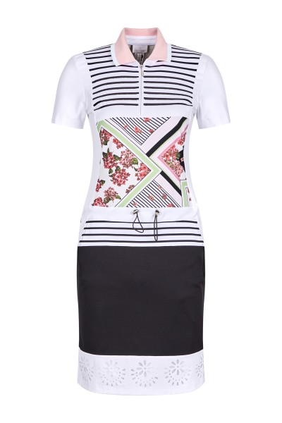 Polo flower dress with stripes and sequins look
