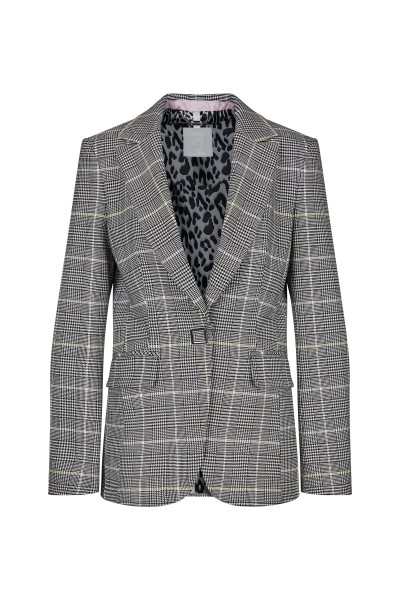 Classic single-breasted blazer with label collar