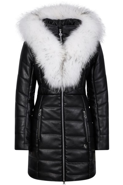 Leatherette coat with fur collar