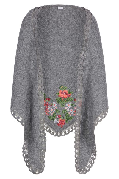Scarf with lace hem